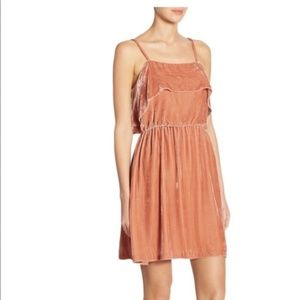 NWT Alice + Olivia Crushed Velvet Rose Tan Dress